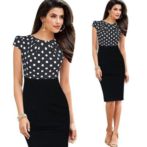 Cap Short Sleeve High Waist Sheath Bodycon Pencil Office Dress-Look Love Lust