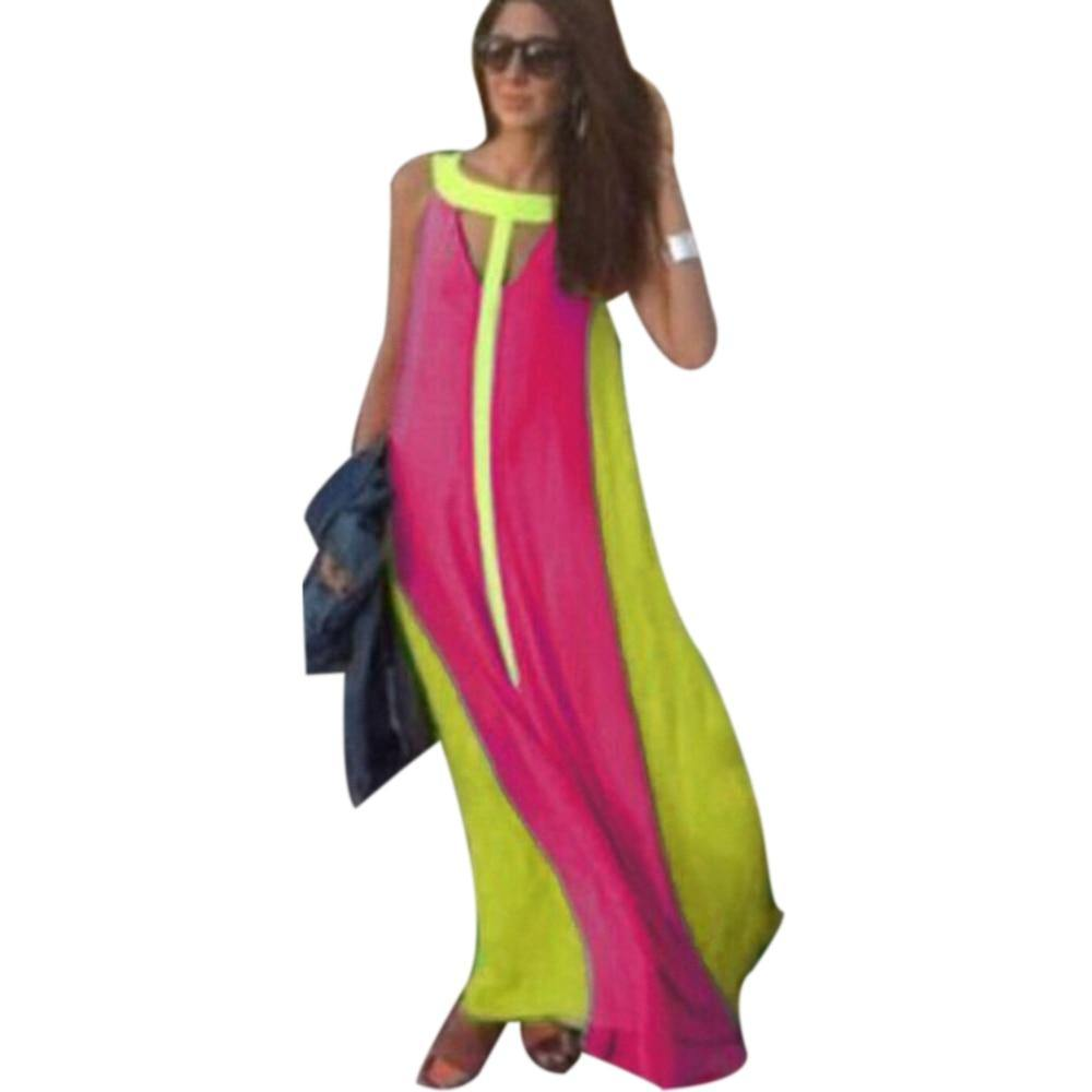 Halter Sleeveless Multicolor Boho Long Maxi Dress-Casual Dresses-Look Love Lust