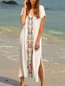 White Embroidery Side Slit Maxi Dress-Look Love Lust