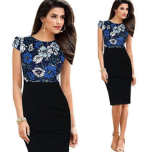 Load image into Gallery viewer, Cap Short Sleeve High Waist Sheath Bodycon Pencil Office Dress-Look Love Lust