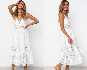 Flouncy Floral Lace Summer Dress-Dresses-Look Love Lust