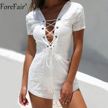 Load image into Gallery viewer, White Lace-Up Short Sleeve Romper-Rompers-Look Love Lust