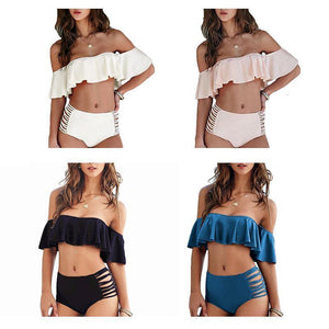 High Waist Flounce Strapless Ruffled Off Shoulder Bikini for Women-Bikinis Set-Look Love Lust