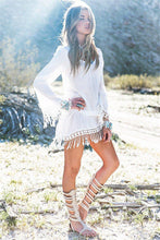 Load image into Gallery viewer, Long Sleeve Fringe Cover-up-Look Love Lust