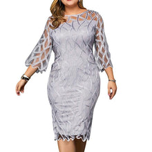 Load image into Gallery viewer, Plus Size Elegant 3/4 Sleeve Gray Overlay Party Dress-200000347-Look Love Lust