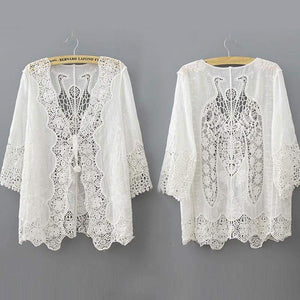 White Lace Kimono Cardigan-Blouses-Look Love Lust