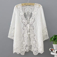 Load image into Gallery viewer, White Lace Kimono Cardigan-Blouses-Look Love Lust