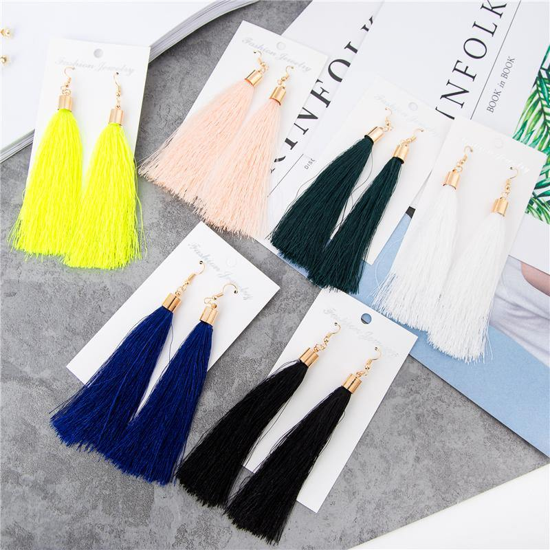 Long Tassel Drop Earrings-Drop Earrings-Look Love Lust