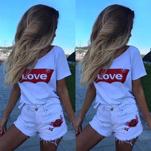 Load image into Gallery viewer, LOVE Round Neckline Short Sleeve Casual White Shirt-Look Love Lust