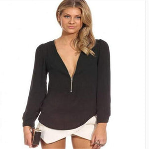 Zip Up Loose Fitting Long Sleeve Blouse-Blouse-Look Love Lust