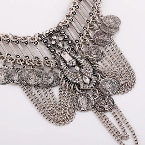 Multilayer CoinsTassel Choker Statement Necklace-Chain Necklaces-Look Love Lust