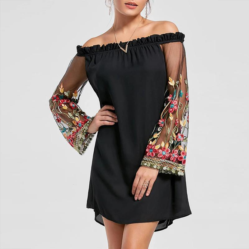 Elegant Off Shoulder Black Loose Mini Casual Dress-Look Love Lust