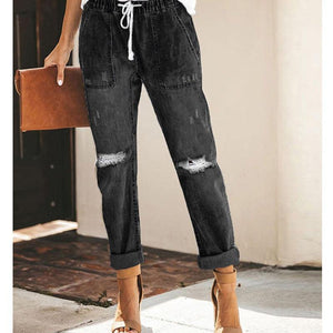 Mom Jeans Woman Pants High Waist Hole Lace up Denim Pants Trousers Drawstring ladies Jeans Women Plus Size vaqueros mujer|Jeans|-Jeans-Look Love Lust