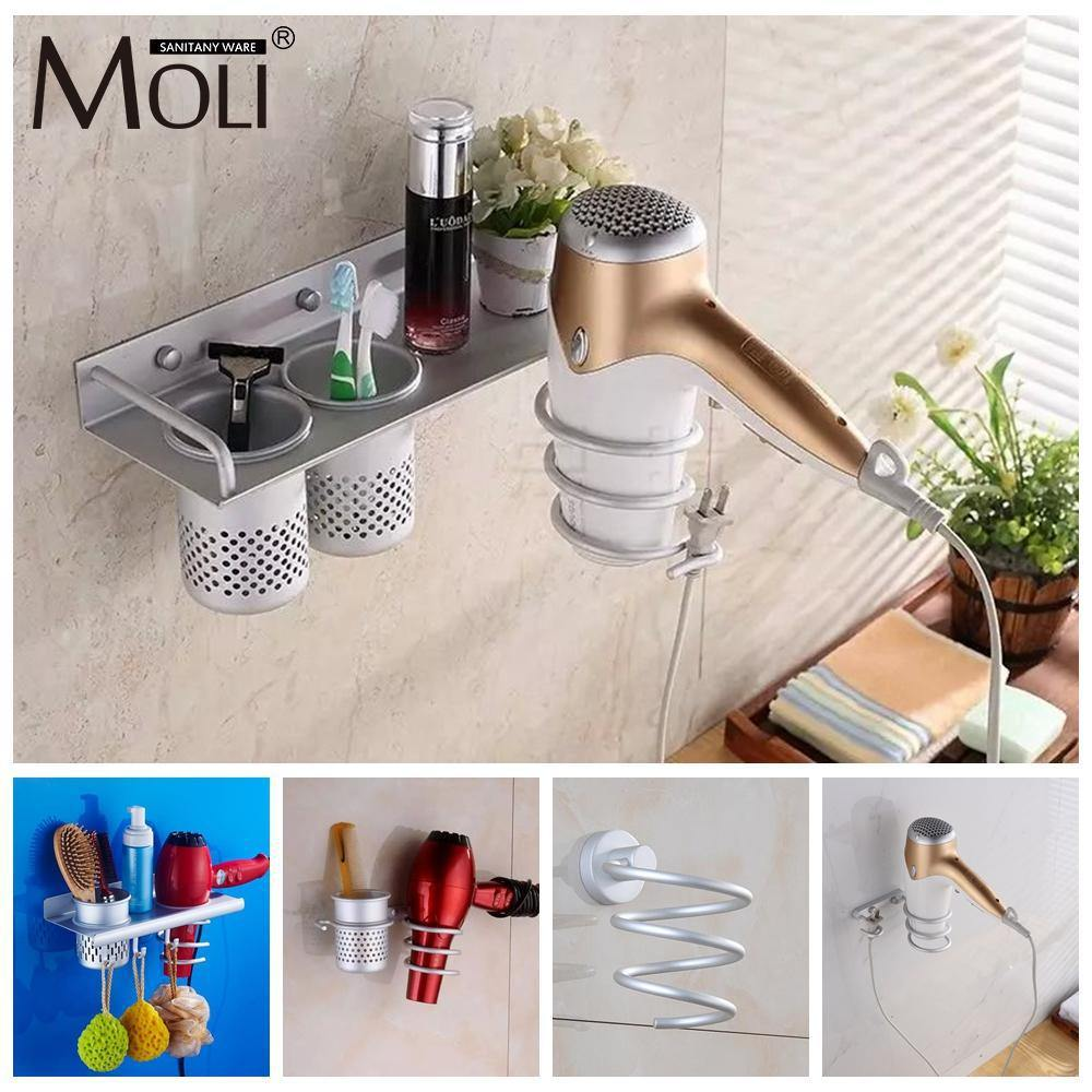 Multi-function Bathroom Hair Dryer Holder Wall Mounted Rack Space Aluminum Shelf Storage Organizer-Hair Accessories-Look Love Lust