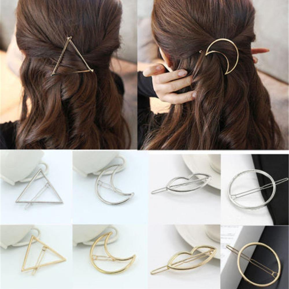 Gold/Silver Plated Metal Triangle Circle Moon Shaped Hair Clips-Hair Care-Look Love Lust