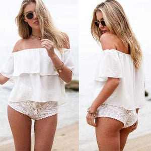 Off Shoulder Summer Chiffon Top-T-Shirts-Look Love Lust