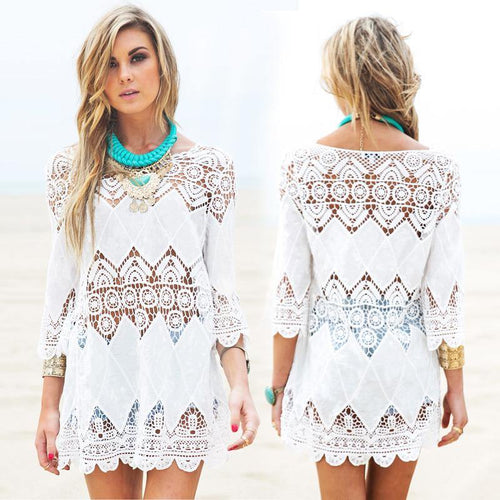 Loose White Crochet Beach Cover Up-Dresses-Look Love Lust