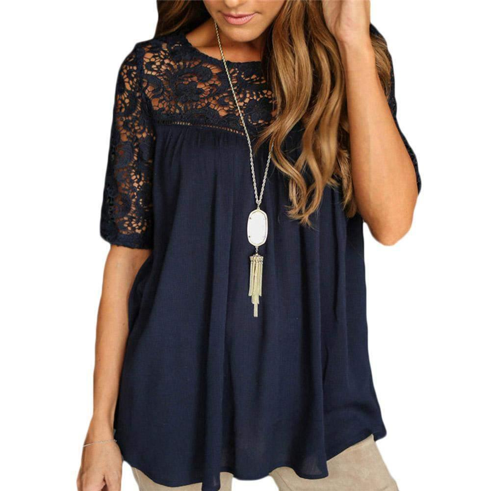 Classic Short Sleeve Blouse with Embroidered Neckline-Blouses-Look Love Lust