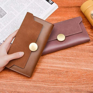 Velvet & Faux Leather Wallet-Wallets-Look Love Lust