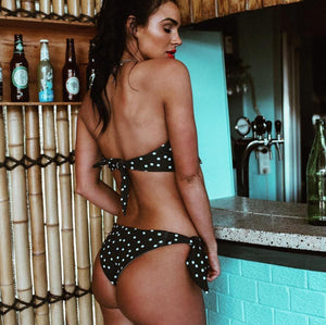 Must Have Polka Dot Strapless Swimsuit-Bikinis Set-Look Love Lust