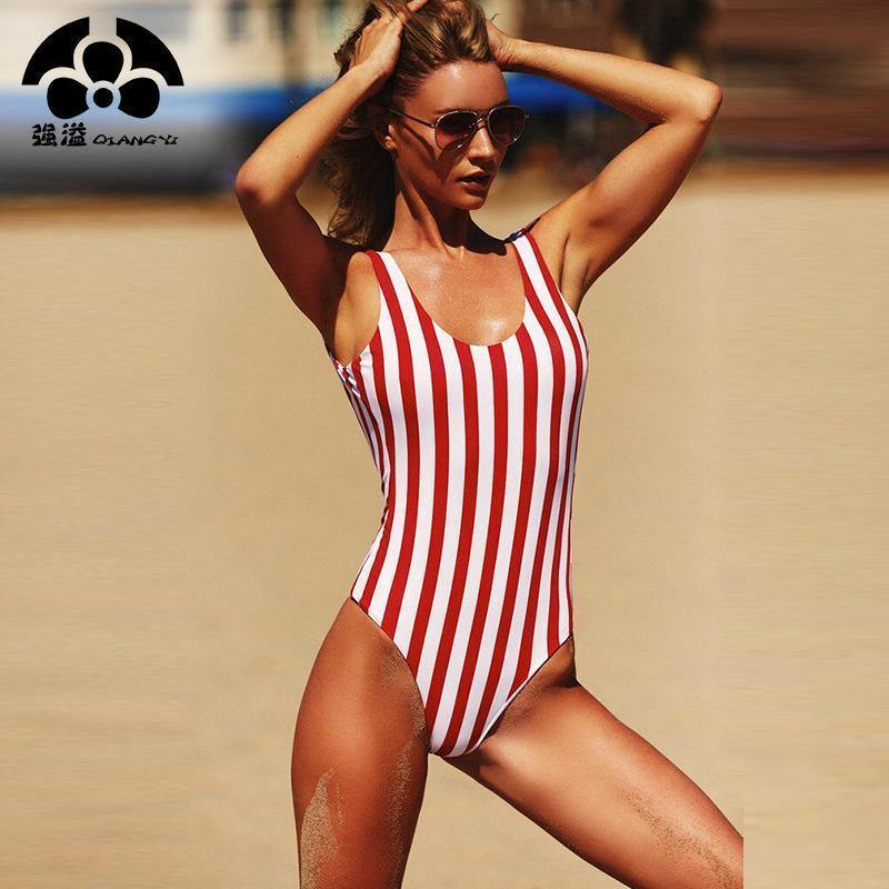 Red & White Stripe Swimsuit-One-Piece Suits-Look Love Lust