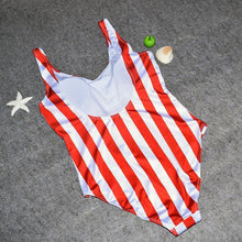 Load image into Gallery viewer, Red & White Stripe Swimsuit-One-Piece Suits-Look Love Lust