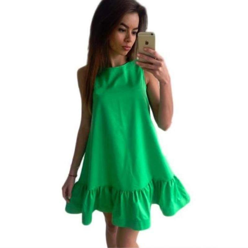 Sleeveless Ruffle Hem Mini Dress-Dresses-Look Love Lust