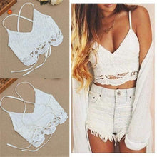 Load image into Gallery viewer, Crochet Cami Crop Top-Blouses-Look Love Lust