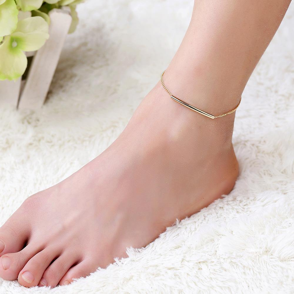 U Tube Gold Color Ankle Bracelet-Anklets-Look Love Lust