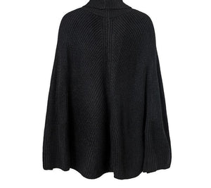 Knitted Turtleneck Sweater Cloak-dre-Look Love Lust