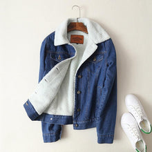 Load image into Gallery viewer, Teddy Fabric Denim Jean Jacket Outerwear-Jacket-Look Love Lust