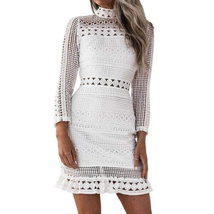 White Floral Crochet Mini Dress-Home-Look Love Lust