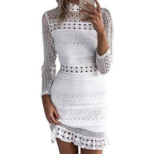 Load image into Gallery viewer, White Floral Crochet Mini Dress-Home-Look Love Lust