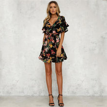 Load image into Gallery viewer, Deep V-Neck Black Flower Print Dress-Dresses-Look Love Lust