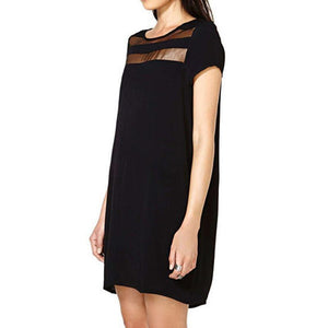 Mesh Neckline Detailed Loose Casual Dress-Look Love Lust