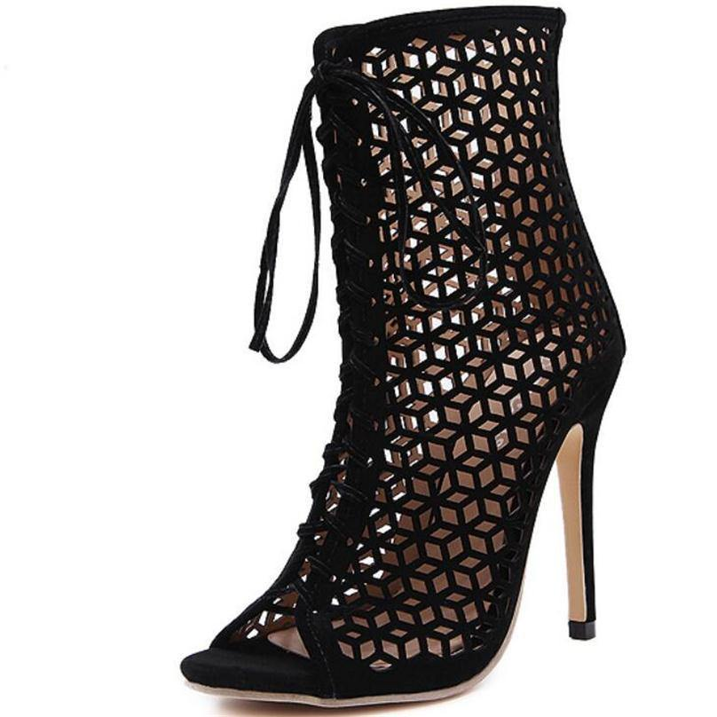 Summer Gladiator High Heel Open Toe Boots-Stilettos-Look Love Lust