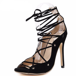 Roman Gladiator High Heel Lace Up Pumps-Stilettos-Look Love Lust