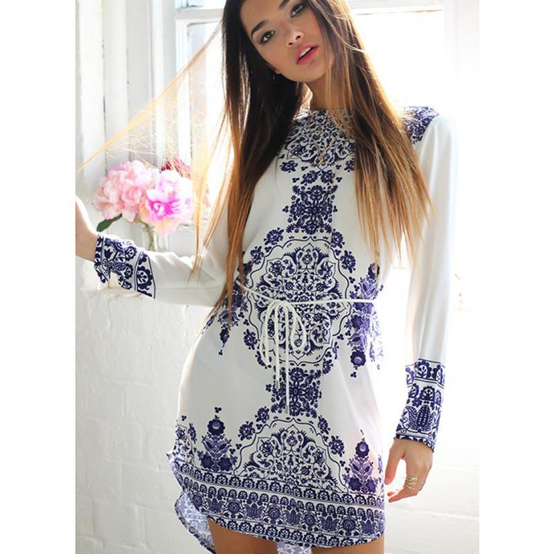 Blue & White Classic Loose and Long Back Hem Dress-Look Love Lust