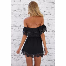 Load image into Gallery viewer, Off the Shoulder Lace Trimmed Sundress-Look Love Lust