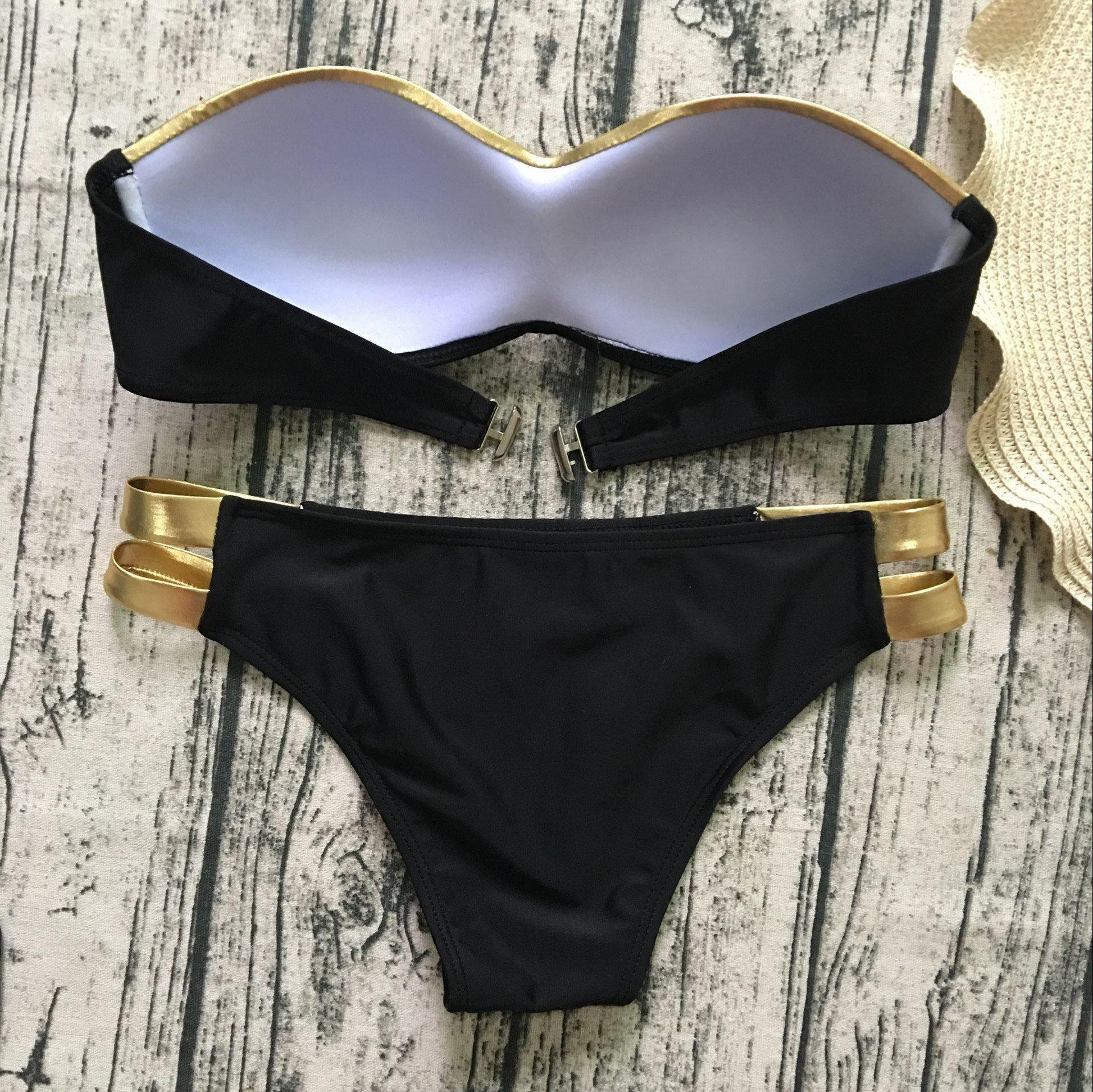 Black & Gold Bikini Set-Two-Piece Suits-Look Love Lust