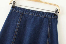 Load image into Gallery viewer, Denim Button Mini Skirt-Skirts-Look Love Lust