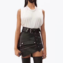 Load image into Gallery viewer, Asymmetric Black PU High Waist Mini Skirt-Skirts-Look Love Lust