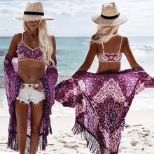 Load image into Gallery viewer, Lilac Crochet Tassels Bikini Cover Up-Cover-Ups-Look Love Lust