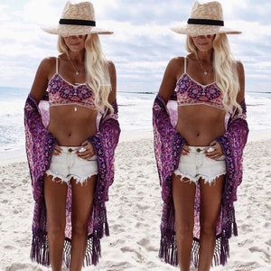 Lilac Crochet Tassels Bikini Cover Up-Cover-Ups-Look Love Lust