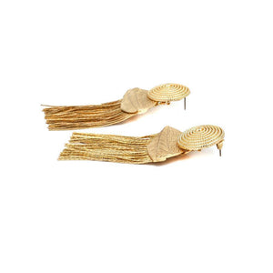 Gold Metal Tassel Earrings -  -  Look Love Lust