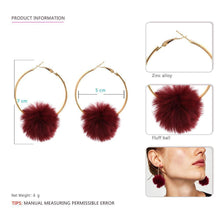 Load image into Gallery viewer, Cotton Ball Hoop Earrings-Look Love Lust
