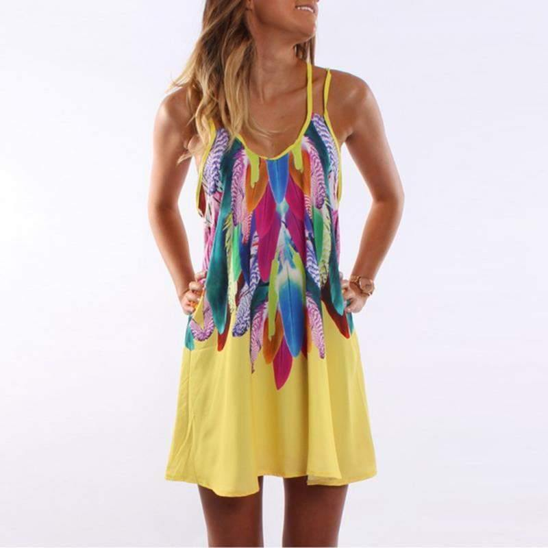 Feather Printed Spaghetti Strap Bohemian Dress-Dresses-Look Love Lust