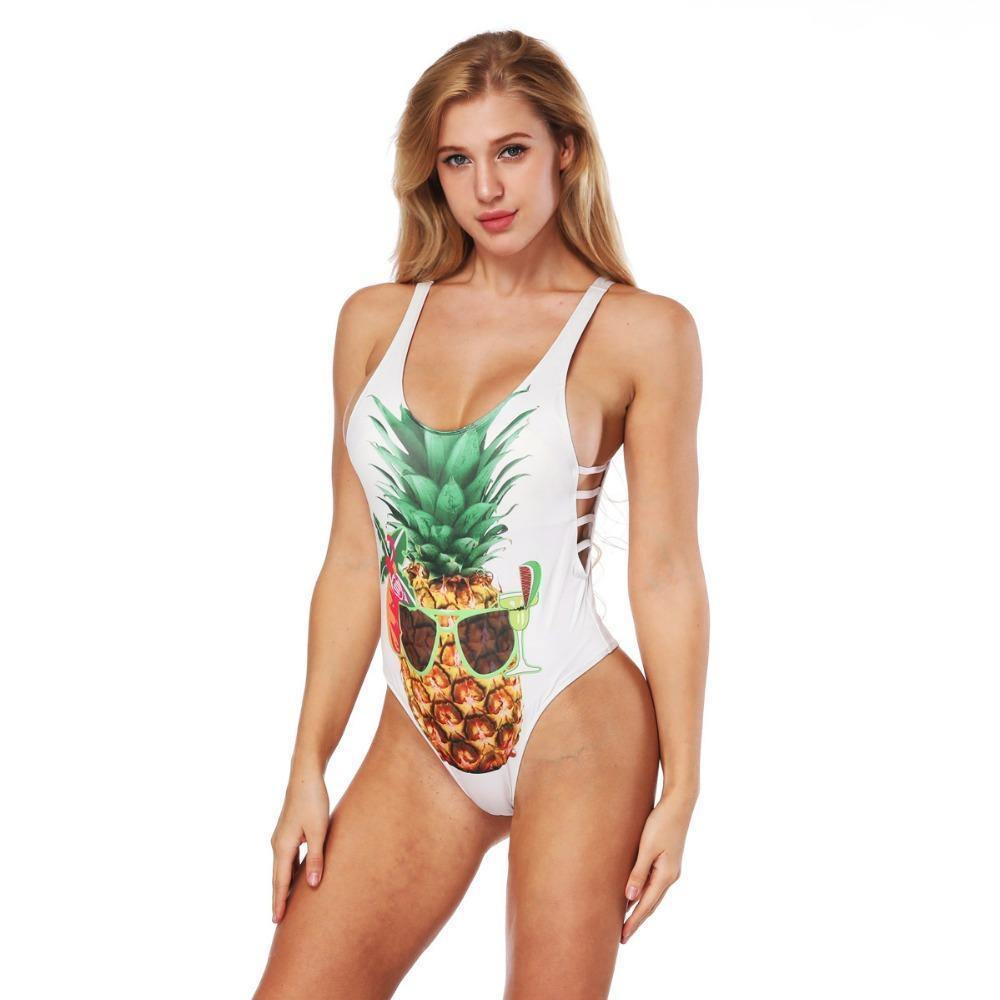 One Piece Push Up Pineapple Fruit 3D Print Swimwear-One-Piece Suits-Look Love Lust