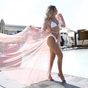 Women See Through Cover Up Beach Long Dress-Cover-Ups-Look Love Lust
