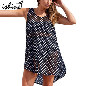 Black & White Polka Dot Beach Cover Up-Cover-Ups-Look Love Lust